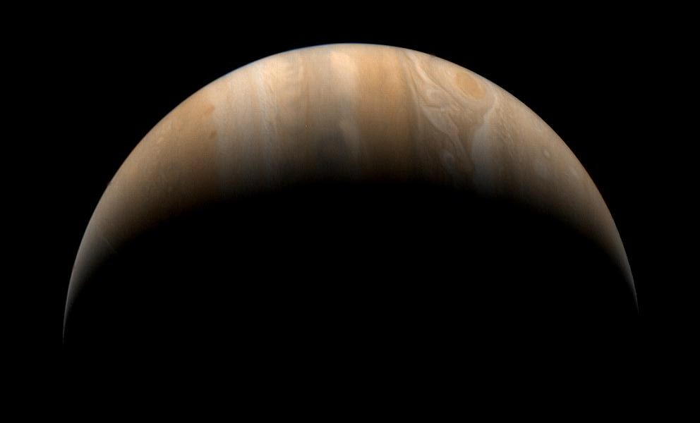 This crescent view of Jupiter was taken by NASA's Voyager 1 on Mar. 24, 1979.