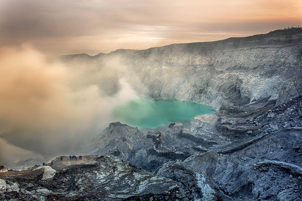 Ijen crater lake in Indonesia